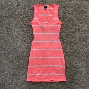 2B bebe- coral striped Open back Stretch dress